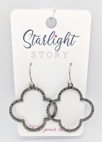Gunmetal Quatrefoil Earrings