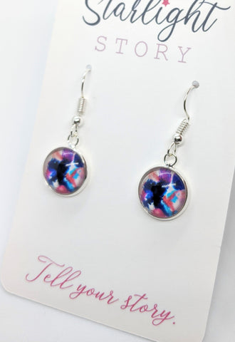 Navy Abstract Glass Earrings