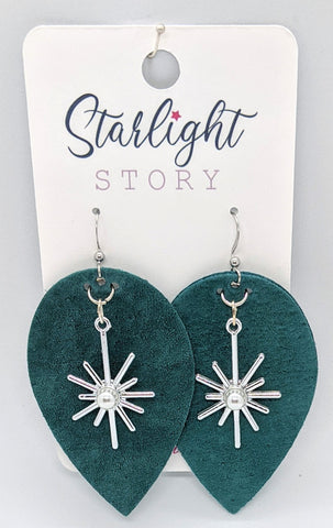 Teal North Star Earrings