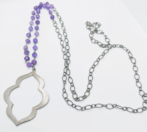 Gunmetal Clover Necklace with Amethyst Gemstones