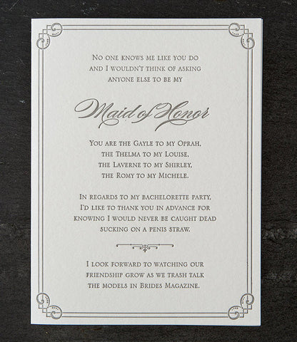 Funny Maid of Honor Card