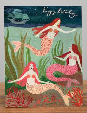 Greeting Card - Happy Birthday Mermaids