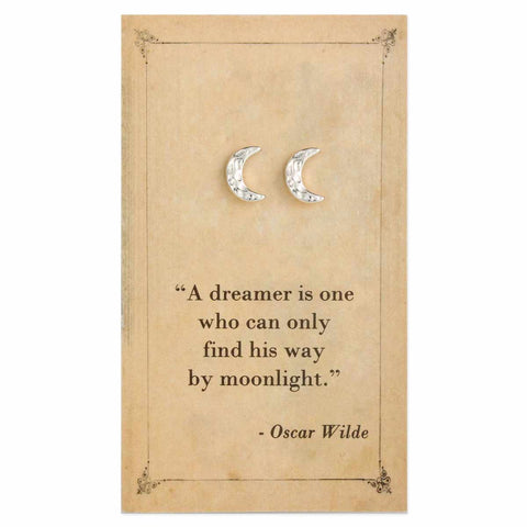 Oscar Wilde Quote Moon Stud Earrings