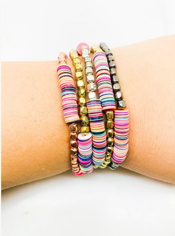 Multi Colored Beaded and Disc Bracelet Set