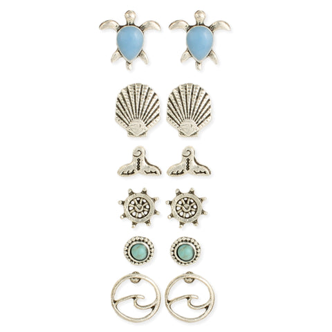 Nautical Icons Ocean Theme Silver Post Earrings