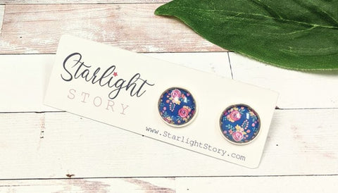 Navy Floral Glass Stud Earrings