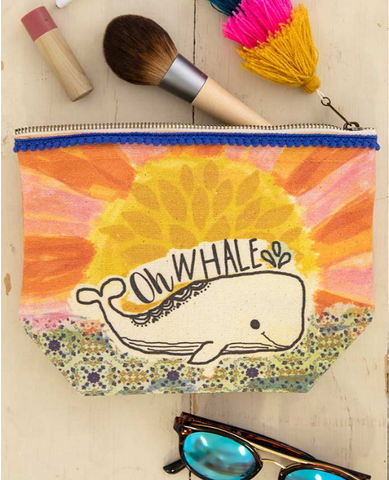 Canvas Zipper Pouch - Oh Whale