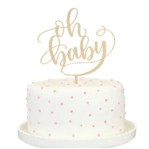 Oh Baby Gold Mirrored Cake Topper