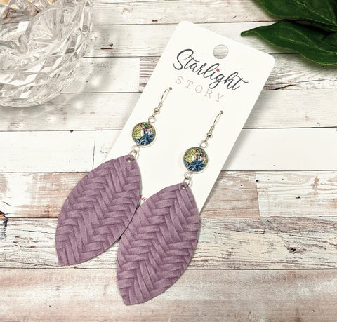 Succulents in Purple Statement Leather Earrings
