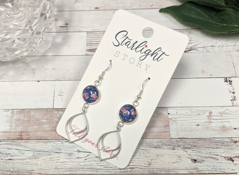 Navy Floral Dangle Earrings