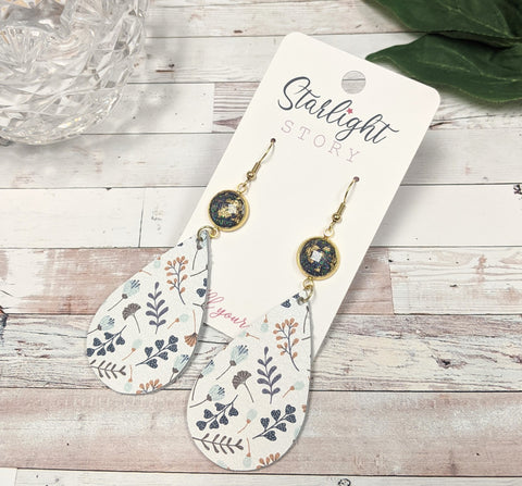 Navy Foliage Leather Earrings