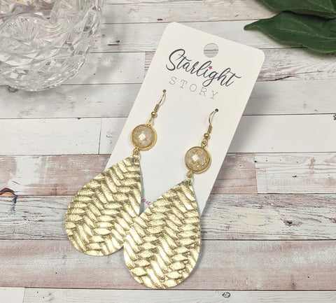 Gold Foil and Ivory Leather Earrings