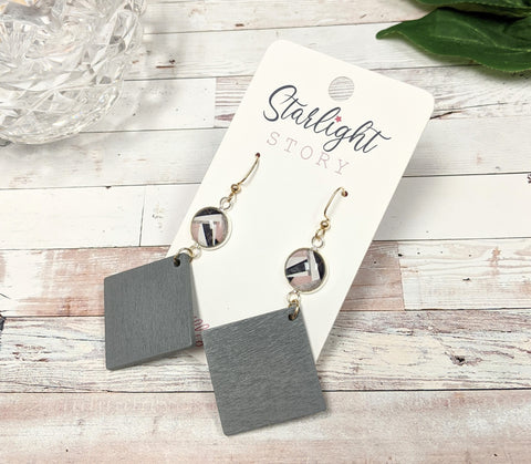 Abstract Gray Dangle Earrings