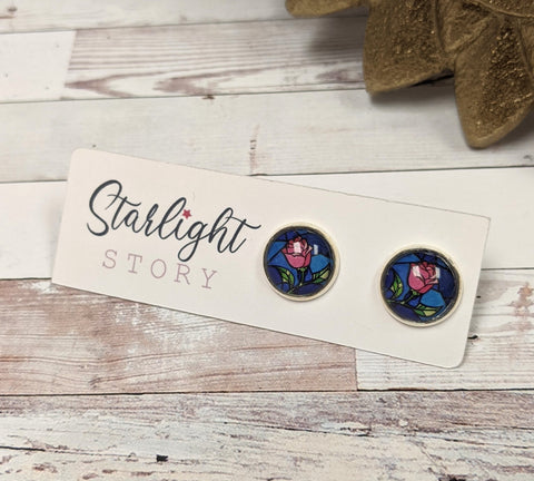 Rose Glass Stud Earrings
