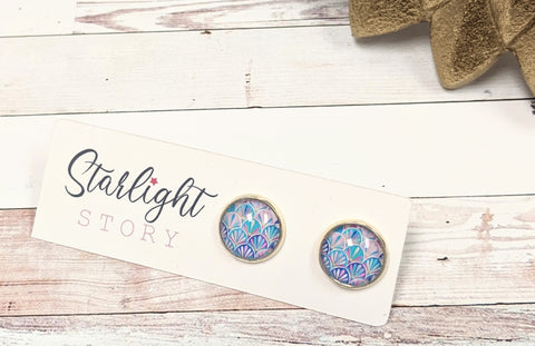 Mermaid Scales Glass Stud Earrings
