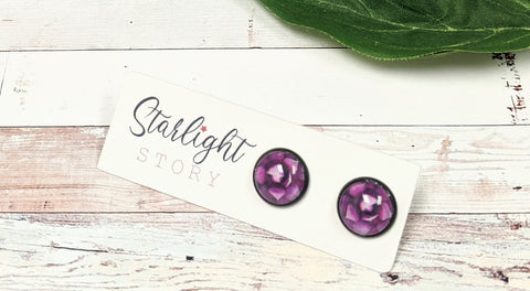 Purple Flower Glass Stud Earrings