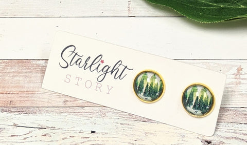 The Forest Glass Stud Earrings