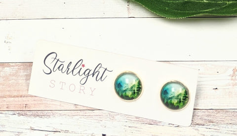 Through the Trees Glass Stud Earrings