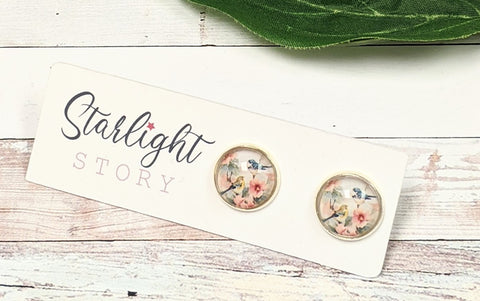 Birds and Flowers Glass Stud Earrings