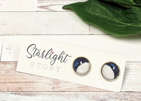 Lunar Glass Stud Earrings