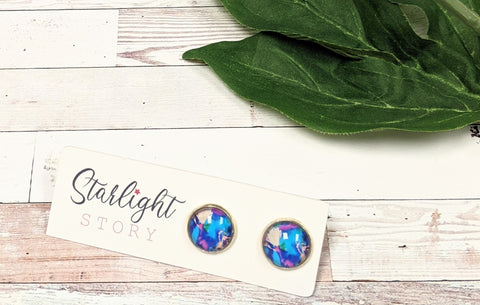 Blue Abstract Paint Glass Stud Earrings