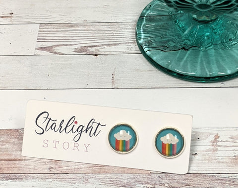 Rainbow Cloud Glass Stud Earrings