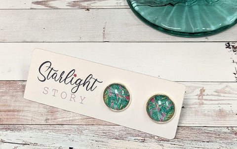 Preppy Green and Pink Glass Stud Earrings