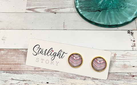 Colorful Chevron Glass Stud Earrings