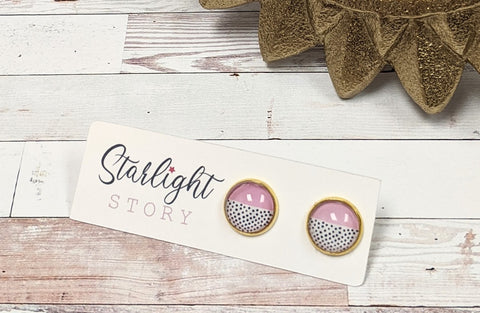 Pink and Dots Glass Stud Earrings