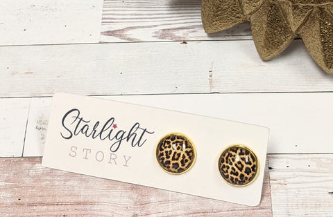 Cheetah Print Glass Stud Earrings