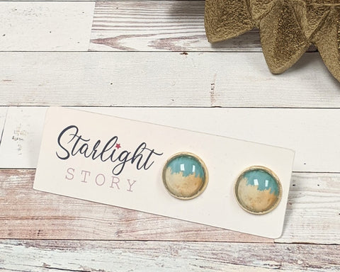 Blue and Beige Paint Glass Stud Earrings
