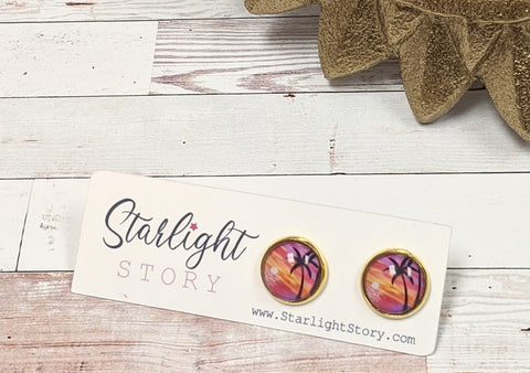 Sunset Palm Glass Stud Earrings
