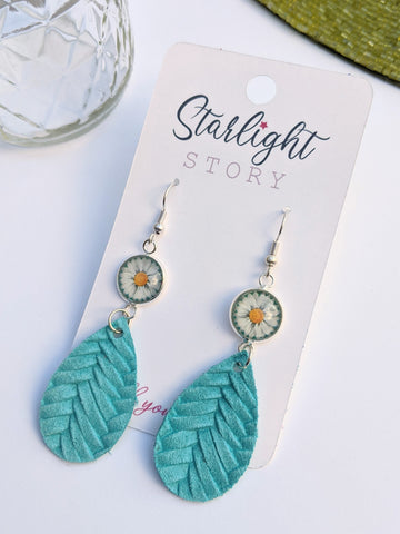 Daisy Glass and Turquoise Leather Earrings