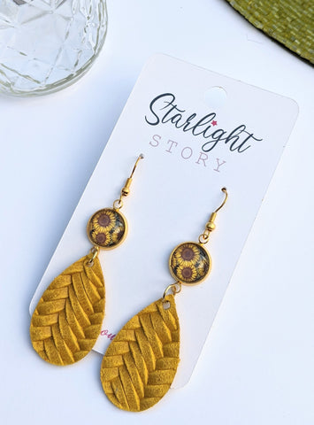 Sunflower Glass and Leather Earrings