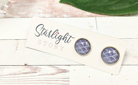 Navy Scales Glass Stud Earrings