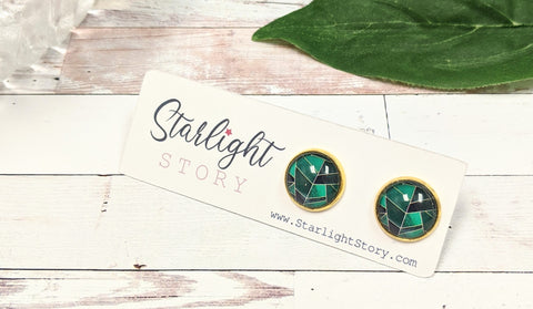 Emerald Green Abstract Glass Stud Earrings