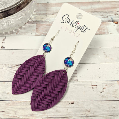 Blue and Purple Abstract Statement Leather Earrings