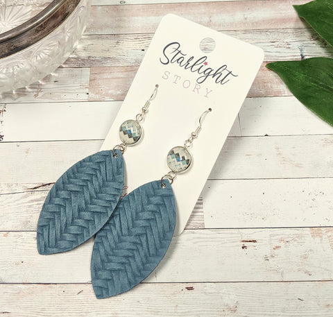 Blue Chevron Statement Glass and Leather Earrings