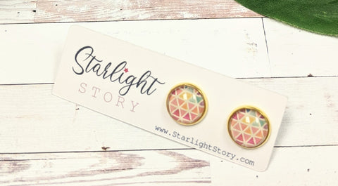 Bright Triangles Glass Stud Earrings