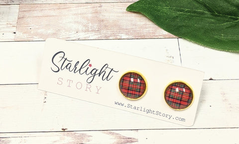 Holiday Plaid Glass Stud Earrings