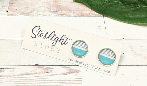 Turquoise Stripe Glass Stud Earrings