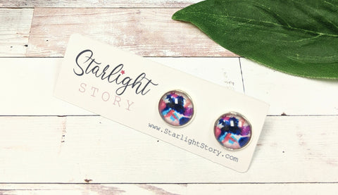 Navy Paint Splatter Glass Stud Earrings
