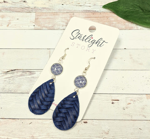 Navy Scales Glass and Leather Earrings