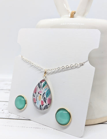 Glass Pendant and Stud Earrings Set - Summer Foliage