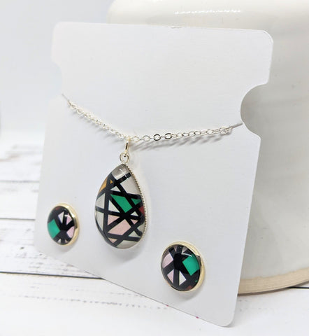 Glass Pendant and Stud Earrings Set - Bold Lines