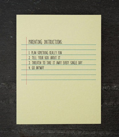 Greeting Card - Parenting Instructions