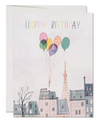 Happy Birthday Card - Balloons Over Paris
