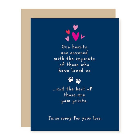 Sympathy Card - Loss of Pet - Paw Prints