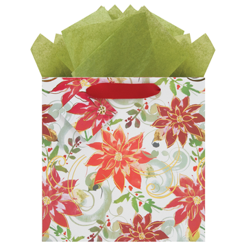 Gift Bag - Pointsettias - Medium Square
