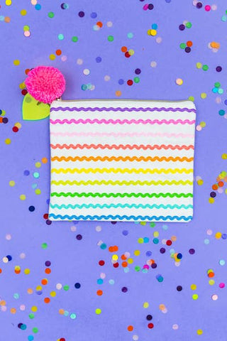Neon Ric Rac Ribbon Zipper Pouch